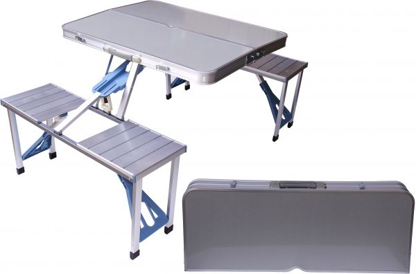 Aluminum Folding Camping Picnic Table With 4 Seats Portable Set
