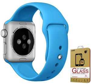 For Apple Watch 38mm - Rubik Soft Silicone Sport Strap Band For Apple Watch 38mm Blue