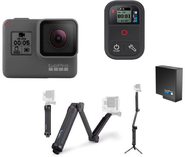 GoPro Hero 5 Black + GoPro 3 Way + GoPro Remo Waterproof Voice Activated  Remote + 1 Extra GoPro Battery Bundle Kit  b0670a127