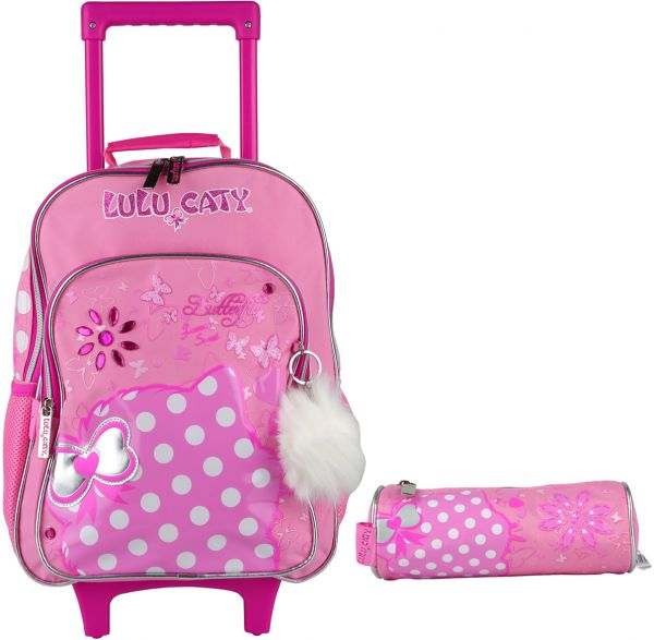 School Trolley Backpack 15 Inch For Girls by Lulu Caty Pink
