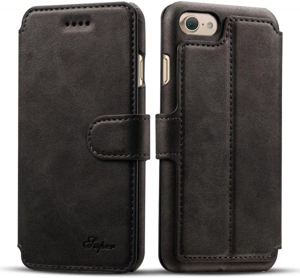 0ce2a4bc0bd Apple iPhone 7 Plus Luxury Flip Cover Wallet Card Leather Phone Case Stand  - Black | Souq - UAE