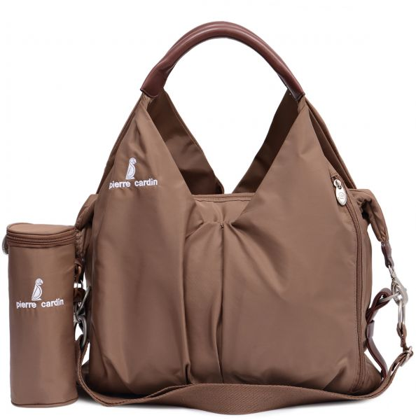 Pierre Cardin Pb88134 Pn Baby Diaper Bag With Water Bottle Holder Brown