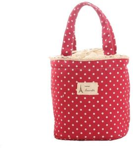 Red Lunch Bag Thermal Insulated Tote Cooler Handbag Pouch