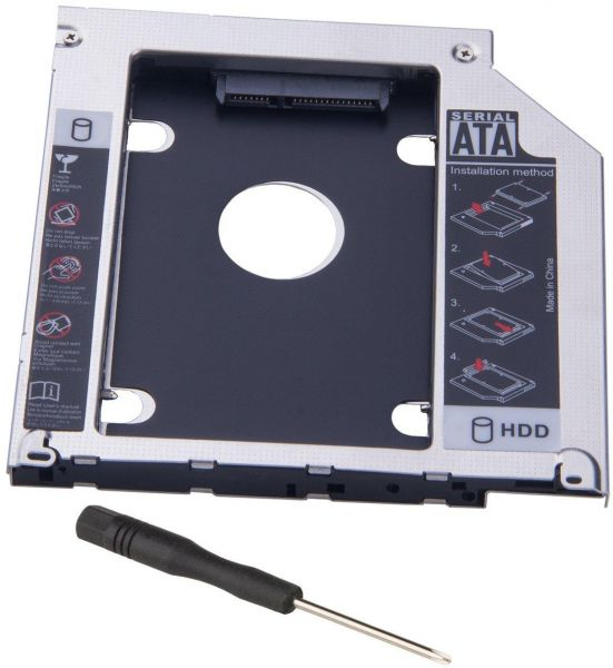 Hard Drive Caddy 9 5mm 2nd HDD caddy Tray adapter ssd enclosure replacement  for Apple Unibody MacBook Pro 13 15 17 SuperDrive for SATA to SATA 2 5