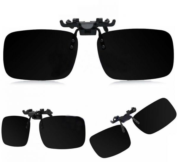 8c48729213 Polarized Day Night Vision Flip up Clip on Lens Driving Sunglasses L Size  Black  ETH-P2