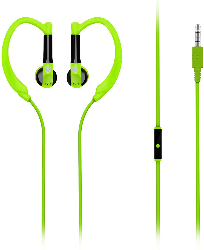 Promate Earphones, High-Quality In-Ear Sweatproof Earhook Headphones with Noise Cancelling, Crystal Sound, and Built-In Mic for Running, Gym, Smartphones, Tablet, PC, Gaudy Green