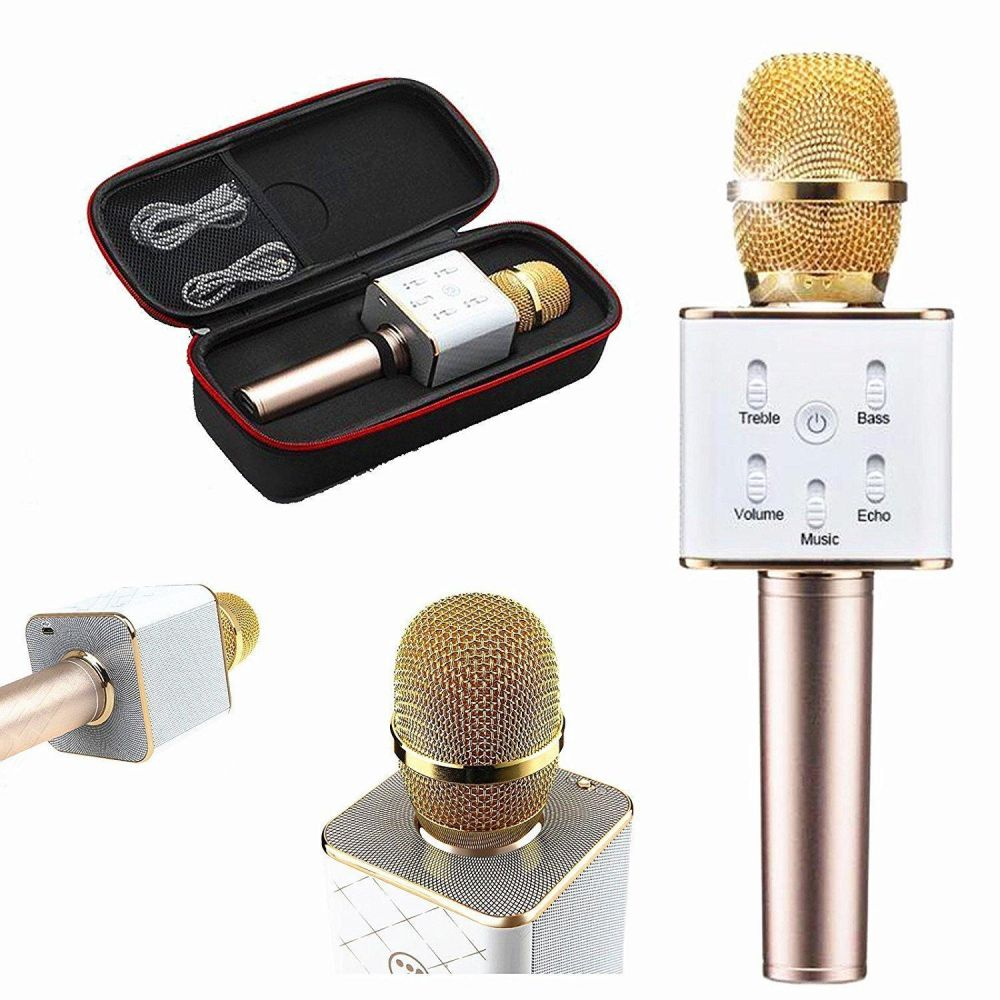 Wireless Q7 Karaoke Microphone, Portable Handheld Bluetooth Condenser Microphone and Speaker for for iPhone/iPad/iPod/ Samsung Sony HTC Lumia Smartphones