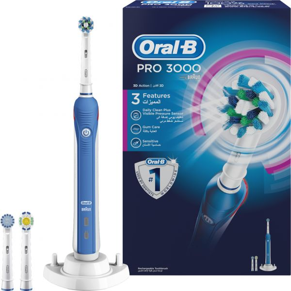 buy oral b pro 3000 crossaction electric rechargeable toothbrush powered by braun ksa souq. Black Bedroom Furniture Sets. Home Design Ideas