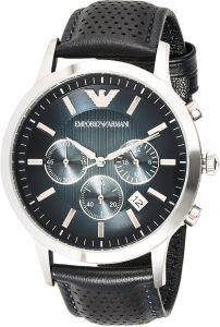 d4c55553e45bc Emporio Armani Men s Blue Dial Leather Band Watch - AR2473