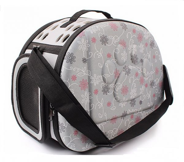 Grey Pet Dogs and Cats Travel Bag Soft EVA Portable Foldable Pet Bag M Sizes Breathable Outdoor Carrier Pet Bag