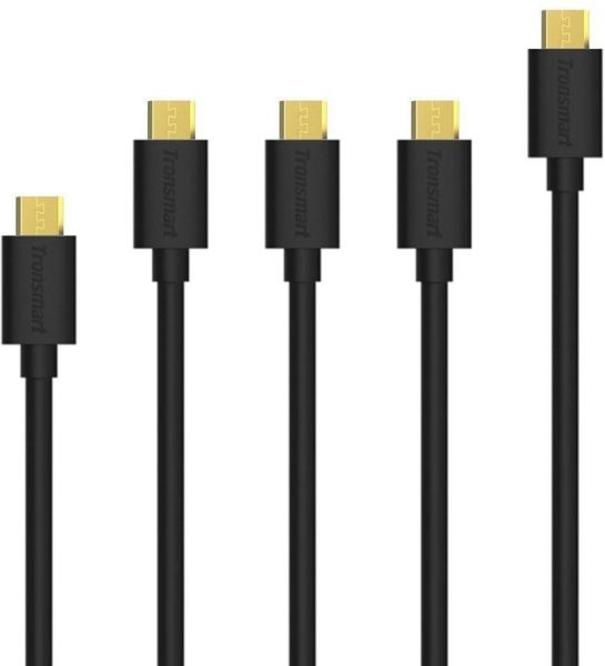 Micro USB Cable Tronsmart 5 Pack 20AWG Durable Charging Cable For