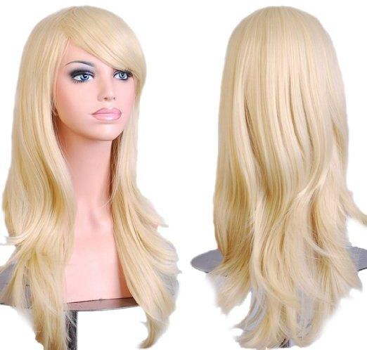 Womens Light Blonde Long Big Wavy Hair Wig For Cosplay Party