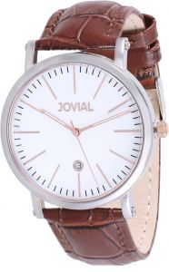 98851a2d1 Jovial Men's White Dial Leather Band Watch - 5210 GSLQ 31 E