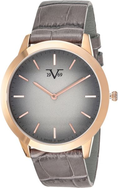 d92b7e449c58 V1969 Men s Analog Grey Dial Leather Band Watch - V7430GGRGR