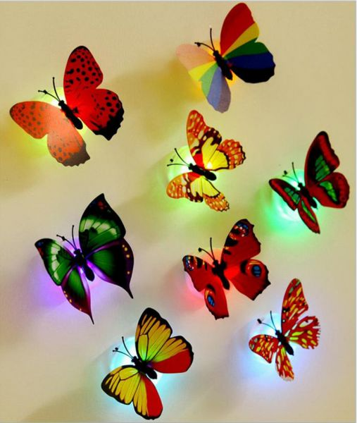 10PCS Colors Changing Led Flashing Colorful Butterfly Night Light Decorative Lights 3D Stickers Home Decor