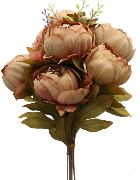 Vintage Artificial Peony Silk Flowers Bouquet Coffee Souq Uae