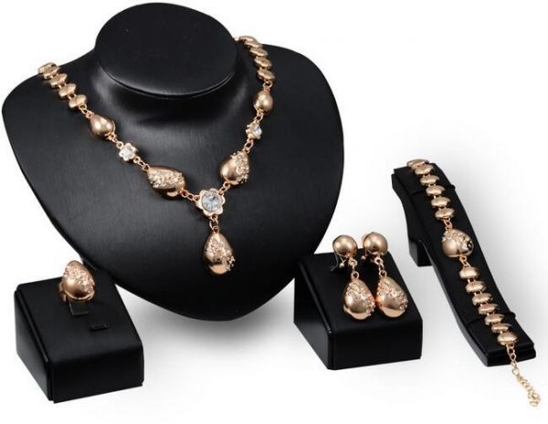 Gold Plated Necklace Earrings Bracelet And Ring Set For Women Accessory Souq Uae
