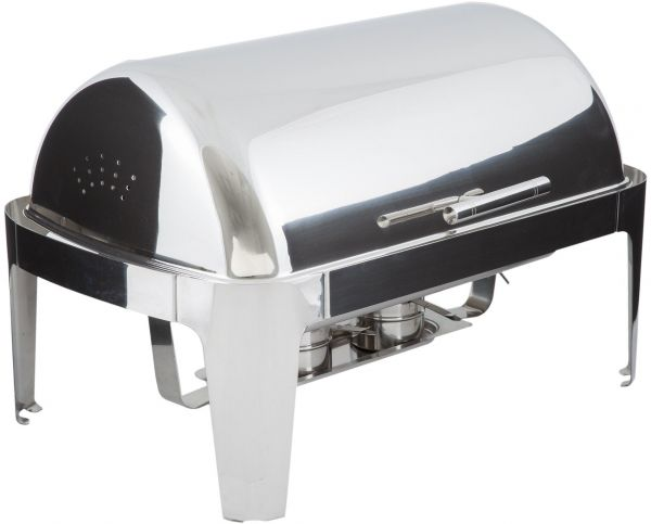 Winco 8 Quart Madison Stainless Steel Rectangular Roll Top Chafing Dish