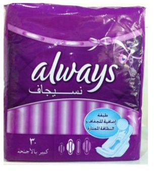 Always Pads Super Plus Wings , 30 Pieces