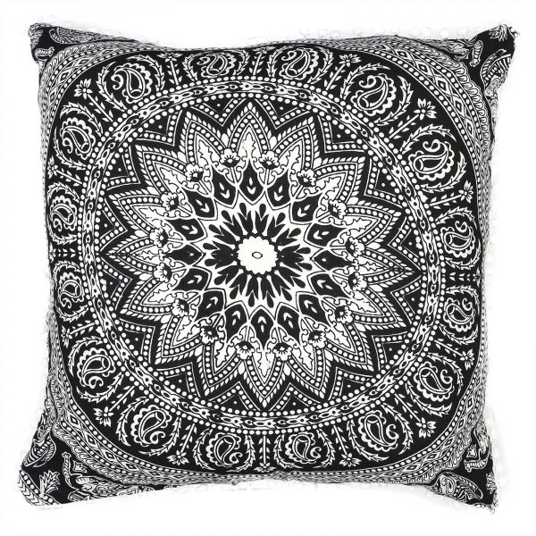 Souq 75 Cms Euro Chams White And Black Mandala Square Floor Pillows Boho Otoman Style Cushions Oman