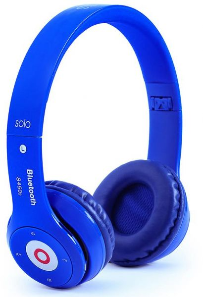 S450 Bluetooth Headset With Memory Card Reader And FM Radio Beats Design Blue