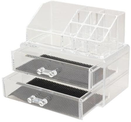 Clear Acrylic Cosmetic Organizer Jewelry Tray Makeup Box Case