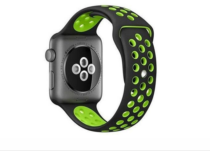 Black green Breathable with holes sport silicone watch Band for apple watch 42mm Bracelet Strap