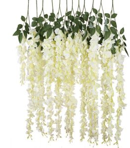12pcs Artificial Silk Wisteria Vine Ratta Hanging Flower Wedding DecorWhite