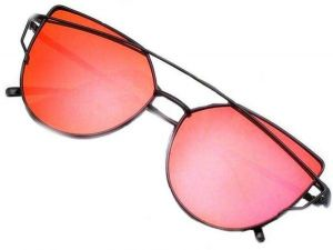 14d8128a08 Sunglasses Mirrored Cat Eye Fashion Designer Style Black Frame Red Lens   BTX-4
