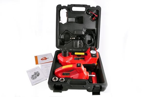 Automotive Vehicle Suv Pick Up 12v Dc 3 Ton Electric Hydraulic Floor Jack Set Of And Air Pump Wrench For Car Use Red
