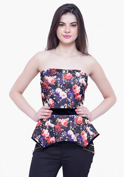 36bbed36d85e Faballey Black Mixed Materials Sweetheart Neck Tube Top For Women ...