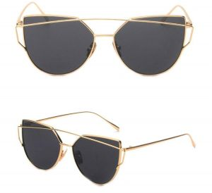 184648a6fd Retro Aviator Women Mirrored Cat Eye Fashion Sunglasses Gold Metal Frame  Black Lense