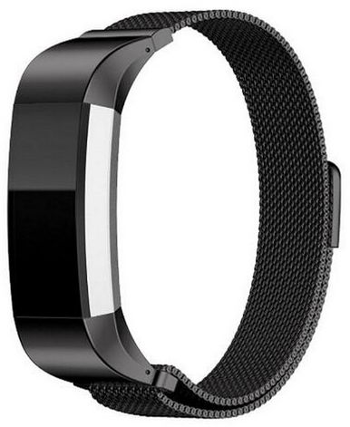 Black magnetic Milanese Loop stainless steel For Fitbit charge 2 Band smart bracelet for charge 2 strap with charge2 adapter