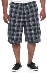 41da0dee6c206 626 Blue Big and Tall Plaid Cotton Lace-up Drawstring Cargo Shorts for Men  - Multi Color