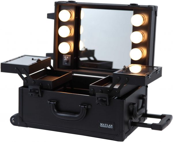 Maylan Rolling Makeup Cosmetic Train Case With Mirror And
