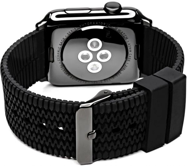 Le Watch Band 42mm S M Carterjett Tire Tread Sport Silicone Replacement Bracelet Rugged Rubber Straps With E Black Adapter And Buckle