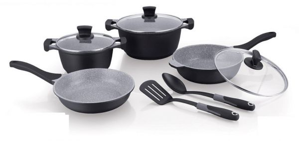 Winsor Cast Aluminum Non Stick Cookware 9 Piece Set, Black