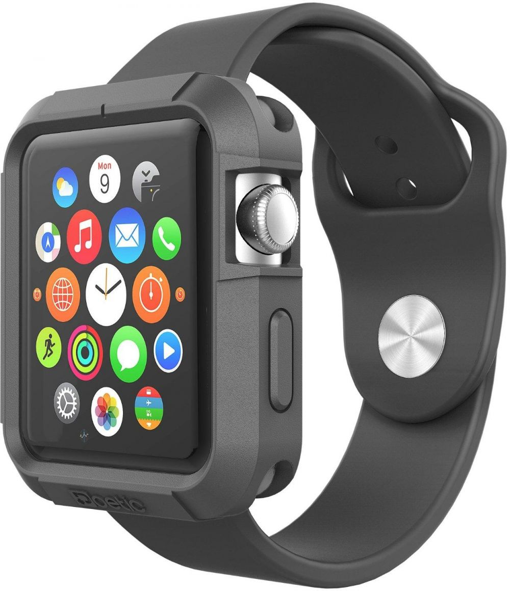 For Apple Watch Series 1 Sport 38mm - Silicone Body Case Cover Black