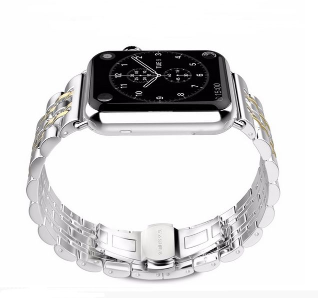 7 Bead 316L Stainless Steel Metal Watch Band for Apple Watch Bracelet Strap gold 42mm