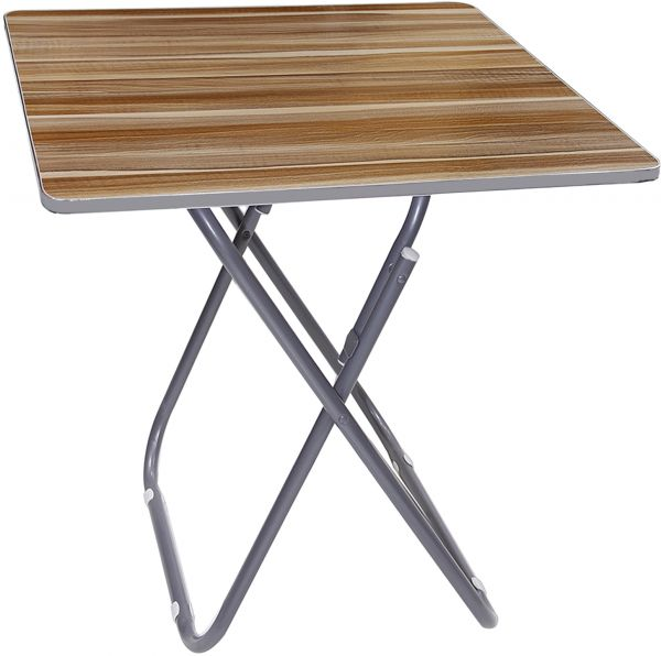 Charmant Wooden Square Folding Table With Metallic Stand