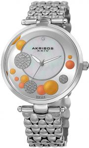 2e1682c66 Akribos XXIV Diamond & Swarovski Women's Mother of Pearl Stainless Steel  Band Watch - AK963SS