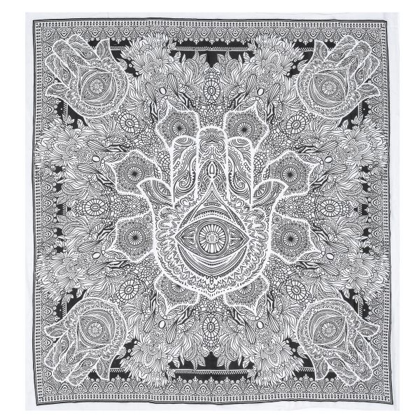 Nidhi Grey And White Queen Size Tapestry With Hamsa Wall Hanging Picnic Blanket Beach Mat Bedcover Sofa Throw Curtains
