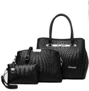 b32ea7070e71 Leather Woven Hand Bag 3 Pcs Set