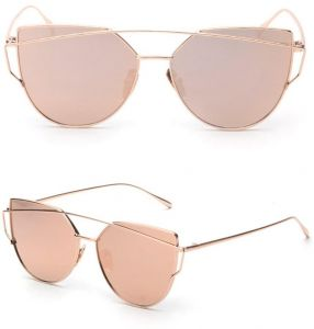 e2938be5948 Womens Flat Lens Pink Mirrored Silver Metal Frame Glasses Cat Eye Sunglasses   BTX-1