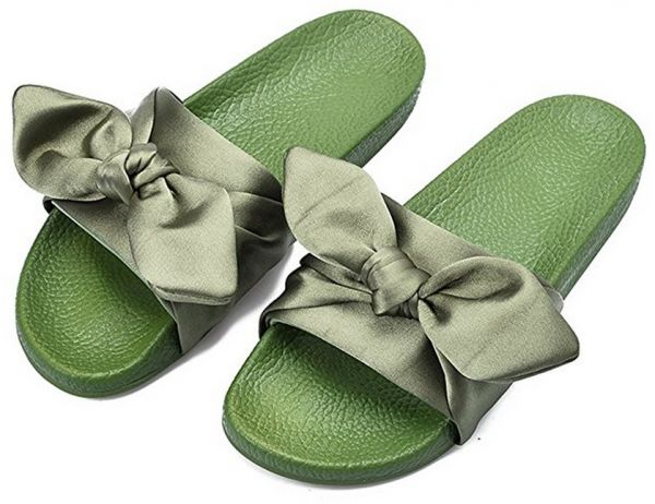 054da0eb33dc Rihanna Bow Olive Green Slides Slipper For Women