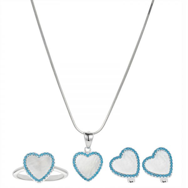 AK Jewels Silver 925 Heart Frame MOP with Turquoise Jewelry Set - 4 ...