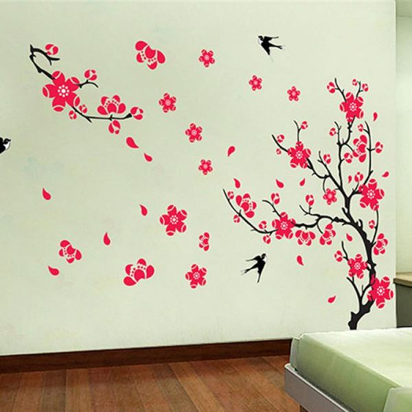 fashion romantic luxury plum blossom flower wall decals removable