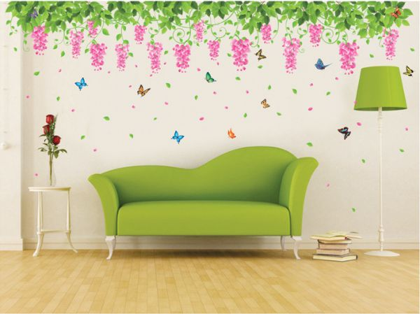 multi color removable green leaves flower vines butterfly pvc decals
