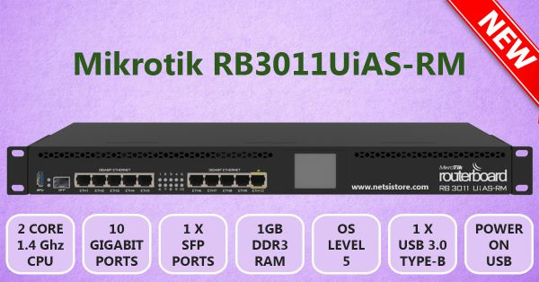 MikroTik Router Board RB3011UiAS-RM Ethernet Router with Dual Core 1 4GHz  CPU and 1GB RAM