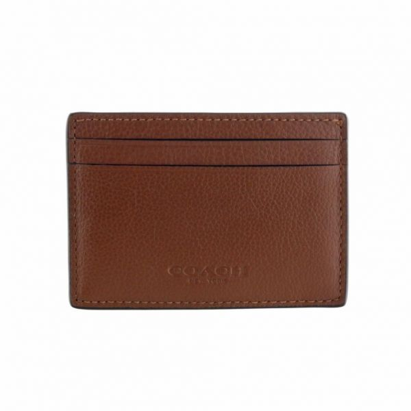 d6cd44ac Coach F75459 CWH Money Clip Credit Card Case Leather for Men - Dark ...